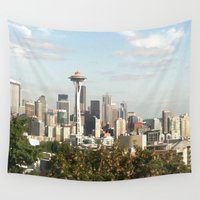 seattle Wall Tapestries featuring Seattle by Elyse Slotnick