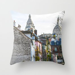 French street in Montmartre, Paris Throw Pillow