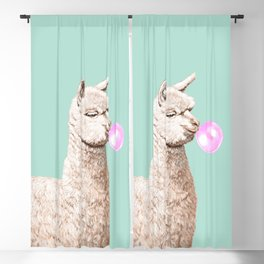 Playful Alpaca Chewing Bubble Gum in Green Blackout Curtain