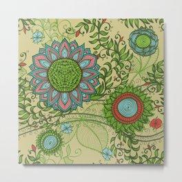 Hand Drawn Floral & Mandala 01 Metal Print