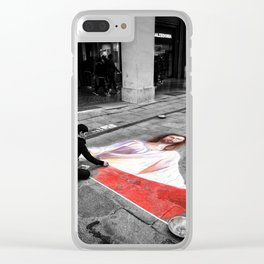 Street Art in Bologna Black and White Photography Color Clear iPhone Case