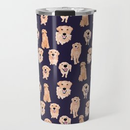 Golden Retrievers on Navy Travel Mug