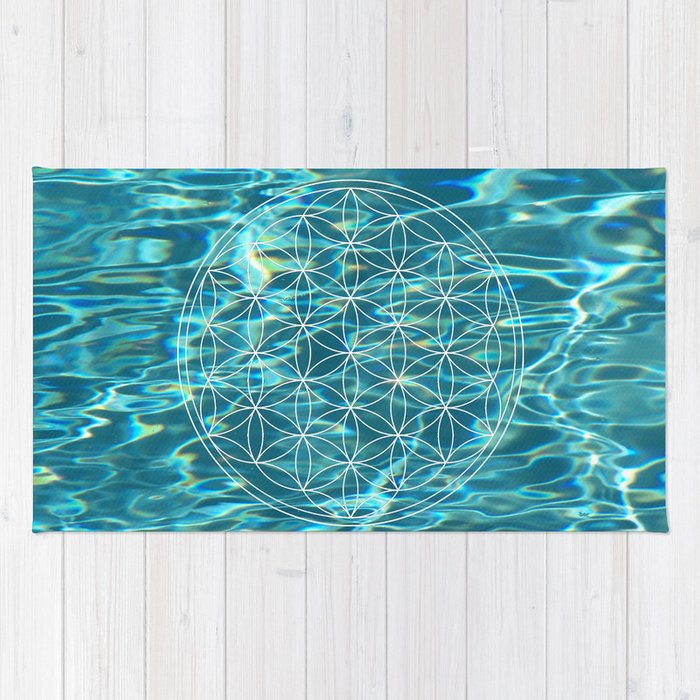 Flower of life in the water Rug