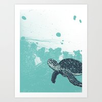 Sea Foam Sea Turtle Art Print