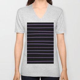 Pantone Chive Blossom Purple 18-3634 Hand Drawn Horizontal Lines on Black Unisex V-Neck
