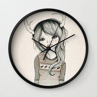 antler Wall Clocks featuring Antler Girl by Kelli Murray