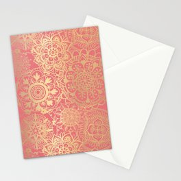 Coral Pink and Gold Mandala Pattern Stationery Cards