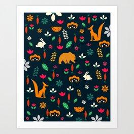 Cute little animals among flowers Art Print