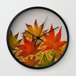 Autumn abstract watercolor 03 Wall Clock