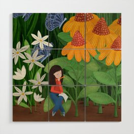 Drawing in he garden Wood Wall Art