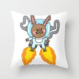 Space bunny Throw Pillow