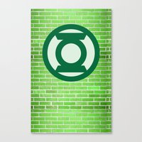 green lantern Canvas Prints featuring Green Lantern by DeBUM