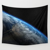 earth Wall Tapestries featuring Earth by Space99