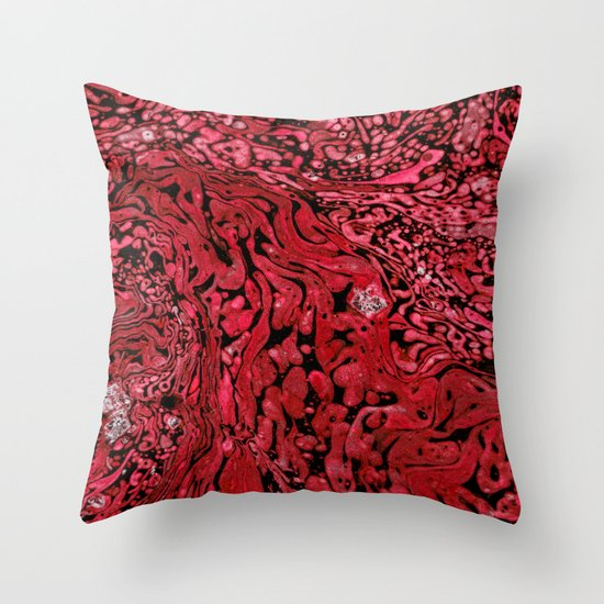 RED MARBLE Throw Pillow