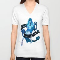 mini V-neck T-shirts featuring MERMAID MINI by Chandelina