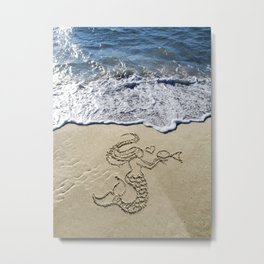 mermaid kissing fishy Metal Print
