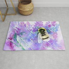 Bumblebee and Lavender Flowers Herbal Bee Honey Purple Floral design Rug