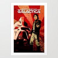 battlestar galactica Art Prints featuring Battlestar Galactica by Storm Media