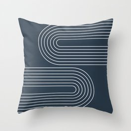Geometric Lines in Midnight Blue 3 Throw Pillow