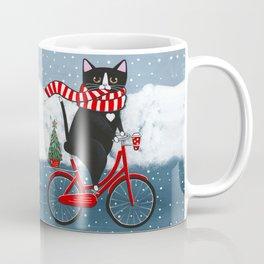 Winter Tuxedo Cat Bicycle Ride Coffee Mug