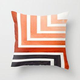 Burnt Sienna Mid Century Modern Watercolor Colorful Ancient Aztec Art Pattern Minimalist Geometric P Throw Pillow