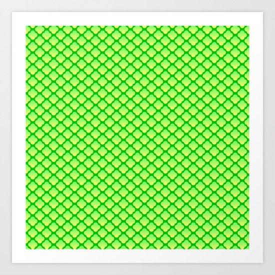 Quatrefoil Pattern, Green/Yellow Art Print