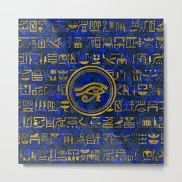 Egyptian Eye of Horus - Wadjet Lapis Lazuli Metal Print