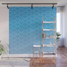 Seigaiha Gradient Blue Wall Mural
