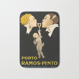 Vintage Wine Poster - Porto Ramos Pinto by Rene Vincent - Vintage French Wine Poster Bath Mat