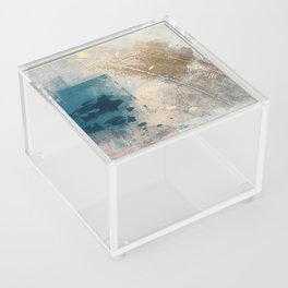 Embrace: a minimal, abstract mixed-media piece in blues and gold with a hint of pink Acrylic Box