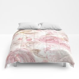 Vintage pastel pink brown butterfly floral typography Comforters