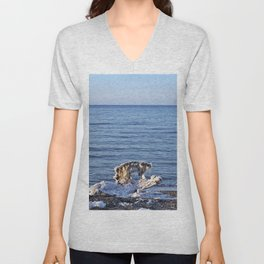 Nature's Ice Sculpture on the Beach Unisex V-Neck