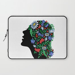 Female head with abstract flowers Laptop Sleeve
