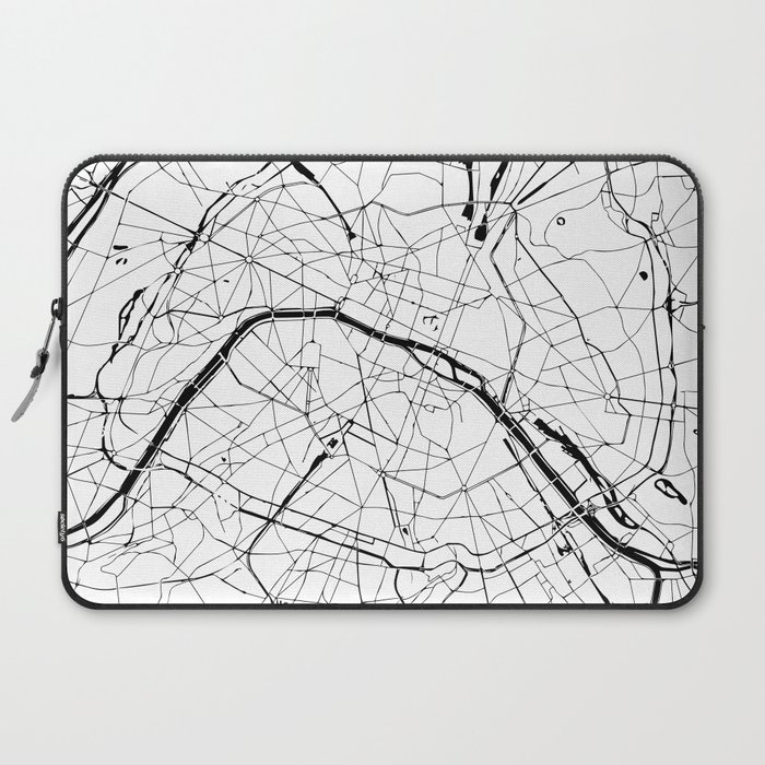 Paris Map Black And White.Paris France Minimal Street Map Black And White Laptop Sleeve By