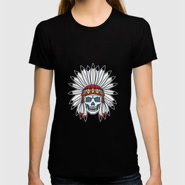 Skull Indian chief feather headdress gift T-shirt