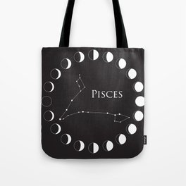 Pisces Zodiac Constellation and Phases of the Moon Tote Bag
