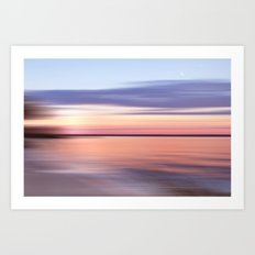 Wide River Dawn with Crescent Moon Art Print