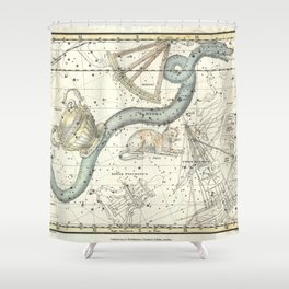 Hydra, Felis Constellations, Celestial Atlas Plate 26, Alexander Jamieson Shower Curtain