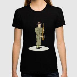 British World War II Soldier Presenting Arms Cartoon T-shirt