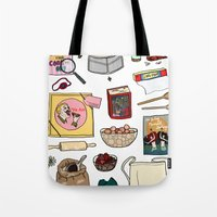 pushing daisies Tote Bags featuring Pushing Daisies by Shanti Draws