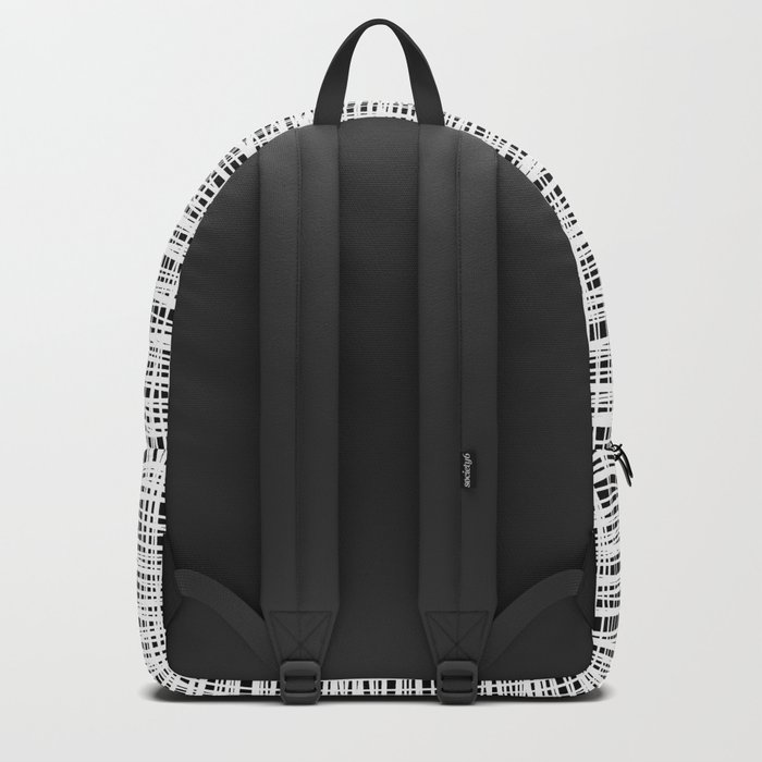 Hand drawn Lines Pattern-White on Black - Mix & Match with Simplicity of life Backpack