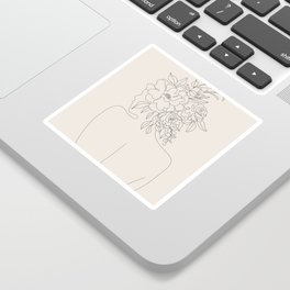 Woman with Flowers Minimal Line I Sticker