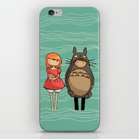 ponyo iPhone & iPod Skins featuring totoro and ponyo by Newspaper Balloon