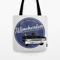 winchester Tote Bags featuring Winchester & sons by mostly10