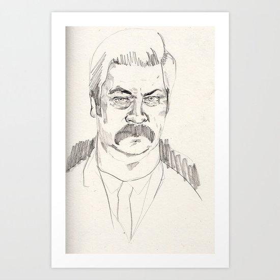 rough ron swanson Art Print