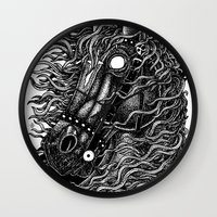occult Wall Clocks featuring Occult horse by Iria Alcojor