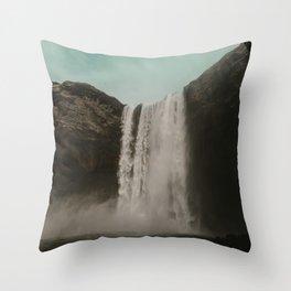 Iceland Waterfall x Skógafoss Throw Pillow