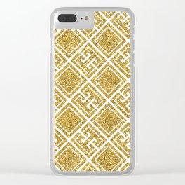 Gold Glitter Greek Pattern Clear iPhone Case