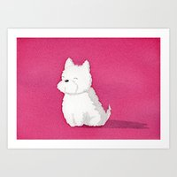 westie Art Prints featuring Westie by Tricia Cababa