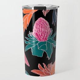 Tropical Ginger Plants in Coral + Black Travel Mug